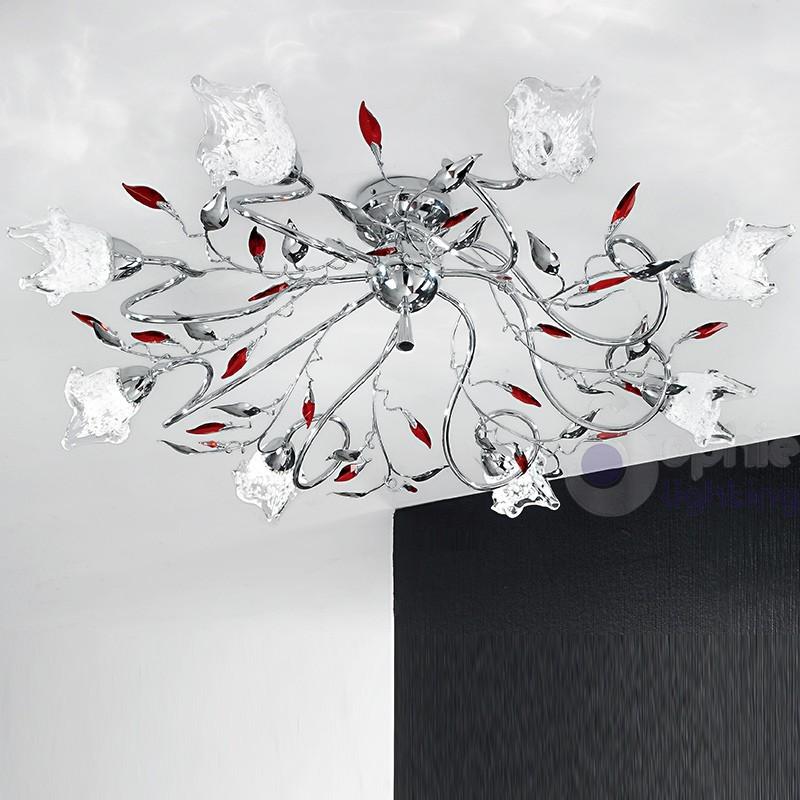 Plafoniera acciaio cromato cristalli rossi-ADELE-PL8