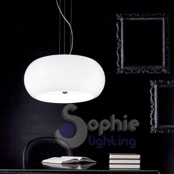 Lampadario LED moderno design sospensione sfera bianca tavolo cucina
