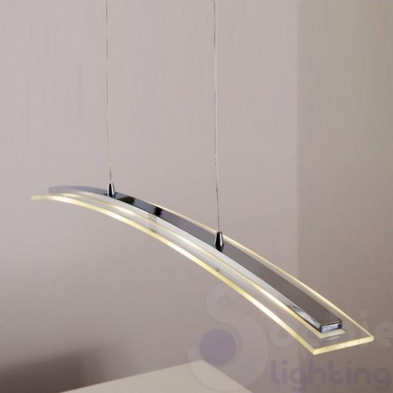 Lampadario moderno LED 4 luci lungo 87 cm accio cromato tavolo cucina