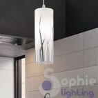 Lampada sospensione LED 1 luce vetro soffiato decori cromo penisola