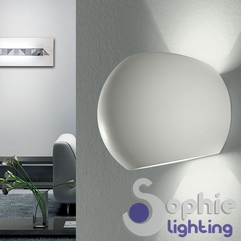 Lampada parete LED moderna gesso ceramico verniciabile luce alto basso