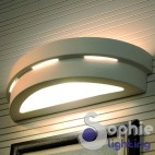 Applique muro LED ceramica bianca mezzaluna personalizzabile scala