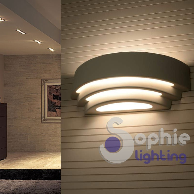 Applique moderna LED 10W luce decorativa gesso verniciabile vano scala