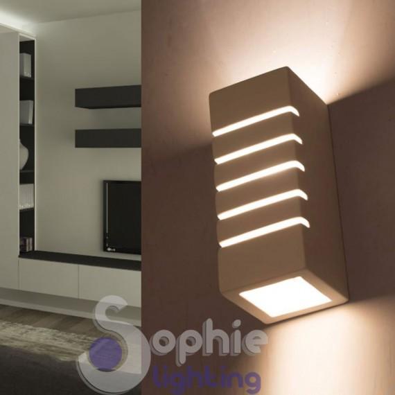 Applique LED mimetizabile luce decorativa moderna gesso rettangolare