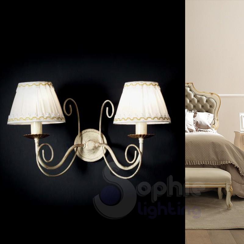 Applique parete classica paralume plissettato shabby chic avorio oro