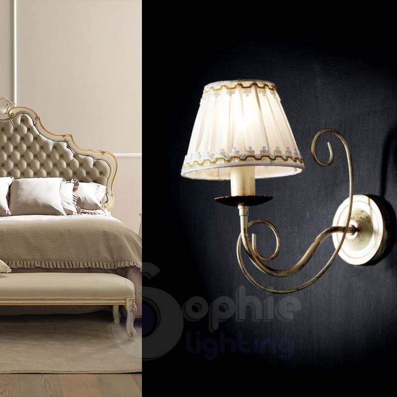 Applique muro ferro battuto antichizzato paralume plissè avorio oro
