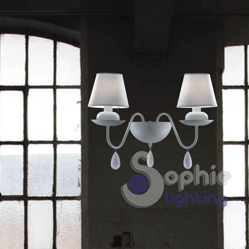 Applique parete 2 luci paralumi cristalli design moderno shabby chic bianco elegante