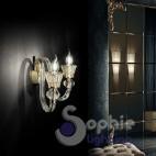 Applique parete vetro murano ambra acciaio oro rosa 2 luci corridoio