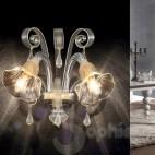 Applique vetro murano gocce cristallo trasparente oro pastorali 2 luci