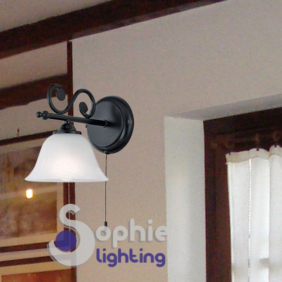 Applique parete ferro battuto nero vetro campana bianco tavernetta