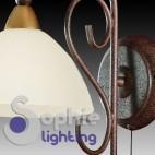 Applique marrone antico oro vetro campana vetro bianco rustico country