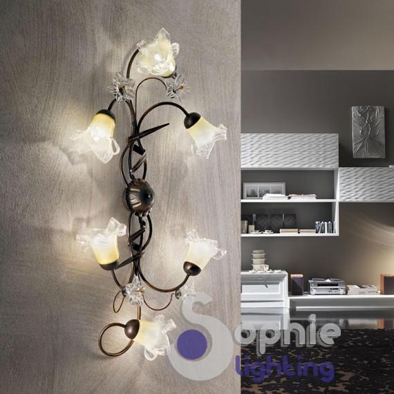 Applique grande parete classico country ferro battuto 6 luci soggiorno