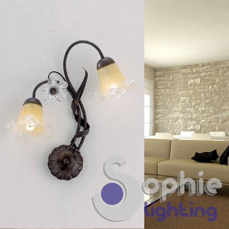 Lampada parete 2 bracci ferro battuto rustico ruggine fiori cristallo