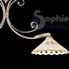 Lampadario 2 luci bilanciere classico avorio piatti ceramica classico