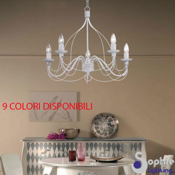 Lampadario LED 5 luci chandelier shabby chic ferro battuto avorio oro
