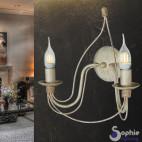 Applique 2 luci LED bracci curvi lampade vista ferro battuto corridoio