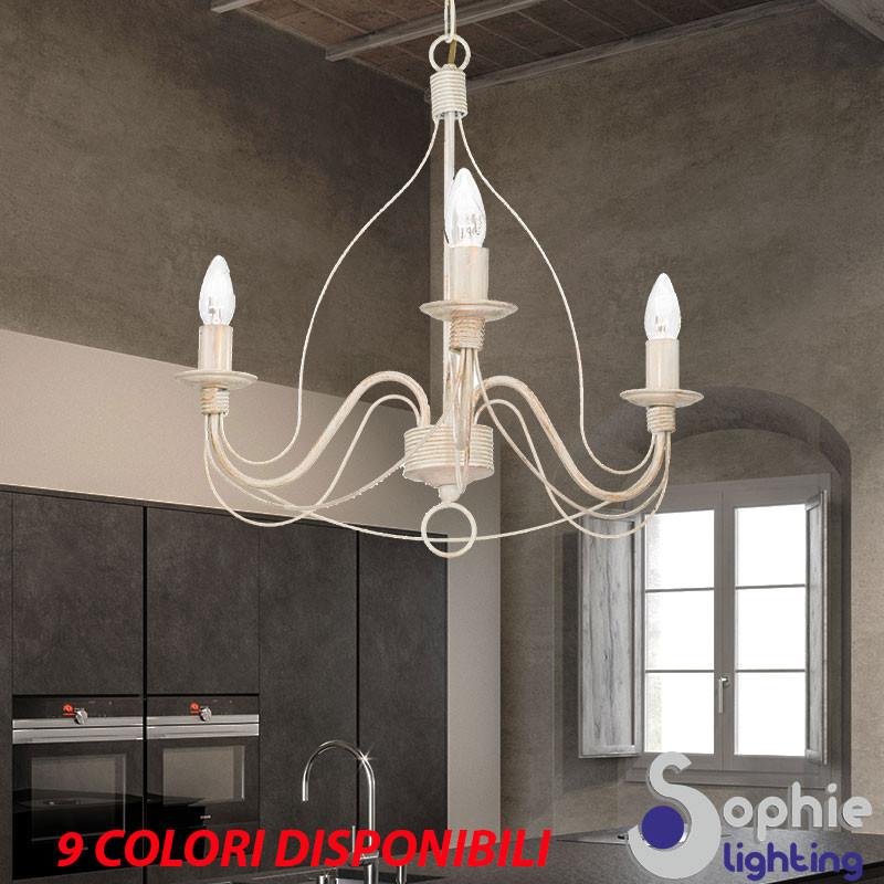 Lampadario LED classico 3 luci ferro battuto country avorio soggiorno