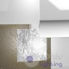 Lampada plafoniera soffitto design moderno elegante 4 vetri bianco foglia argento