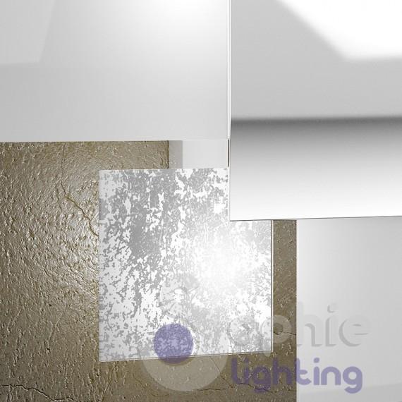 Lampadario moderno lungo 75 cm paralume bianco rame LED sostituibili