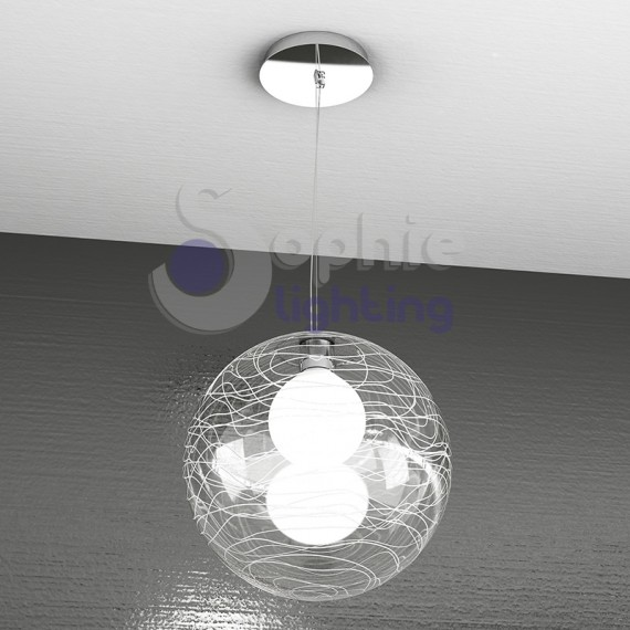 Lampadario LED moderno paralume tondo 50 cm bianco rame salone cucina