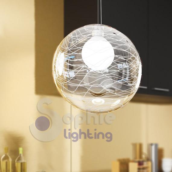 Sospensione moderna sfera 40 cm trasparente decoro righe bianche