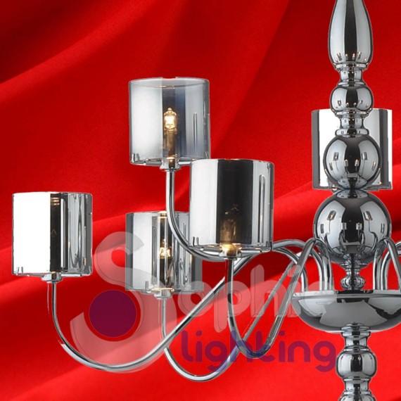 Lampadario sospensione 9 luci design moderno cromato - Luci sospensione design ...