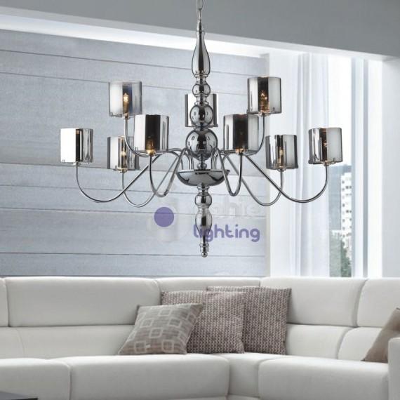 Lampadario sospensione 9 luci design moderno cromato - Lampada per soggiorno ...