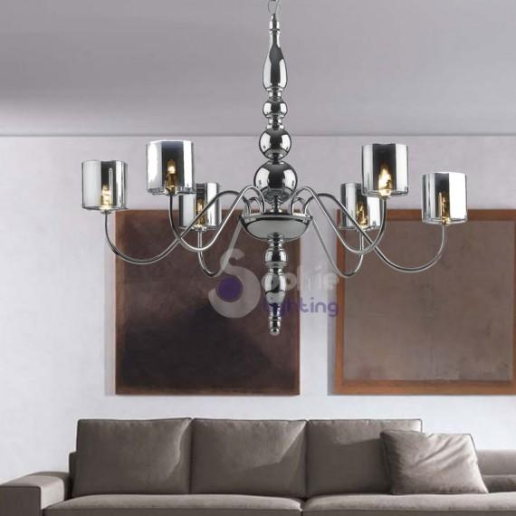 Lampadario 6 luci design moderno acciaio cromato - Lampadari design economici ...