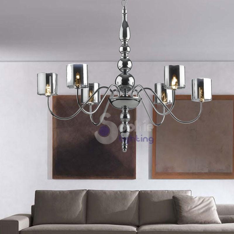 Favoloso Lampadario 6 luci design moderno acciaio cromato WQ16