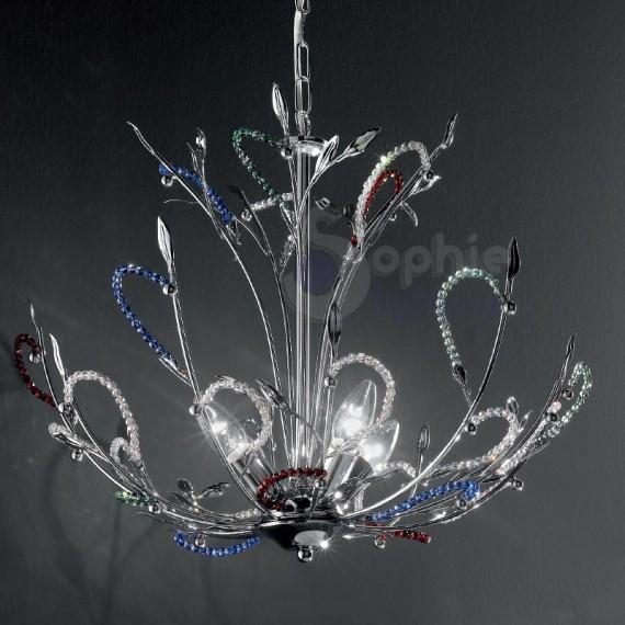 Lampadario design moderno cromato perle cristallo