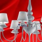 Lampadario design moderno paralumi bianchi-SHABBY-8L