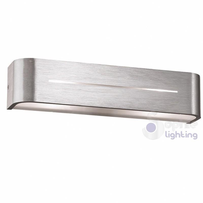 Applique moderno acciaio spazzolato luce alto basso