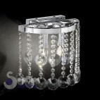 Lampada parete cristalli pendenti design moderno curvo acciaio cromo