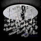 Plafoniera design moderno cromata cristalli pendenti