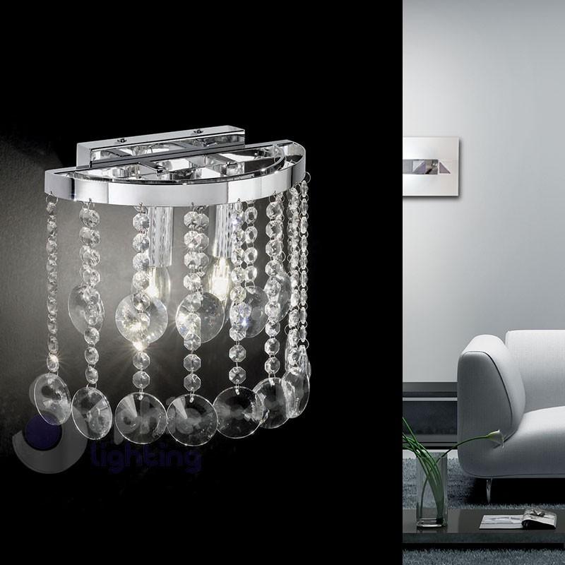 Lampada parete cristalli pendenti design - Lampada parete design ...