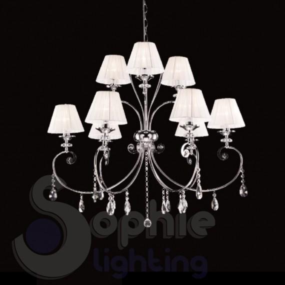 lampadario 9 luci design contemporaneo cromo paralumi bianchi