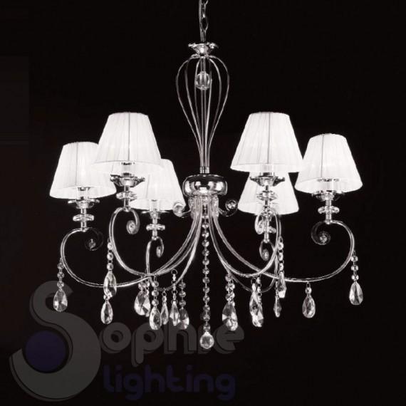 Lampadario 6 luci design moderno paralumi bianchi lampadari moderni