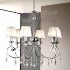 Lampadario 6 luci design moderno paralumi bianchi