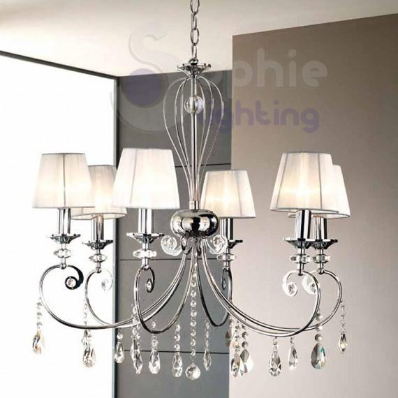 Lampadario 6 luci design moderno paralumi bianchi - Lampadari da bagno moderni ...