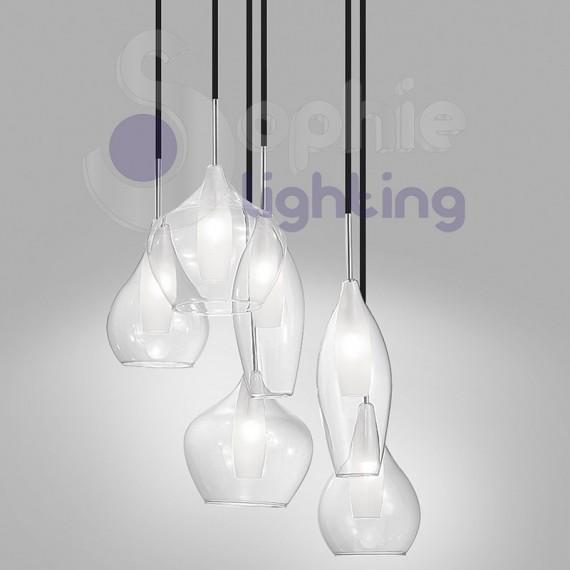 Lampadario sospensione 6 luci pendenti design moderno - Luci sospensione design ...