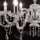 Lampadario 5 luci vetro di murano cristallo