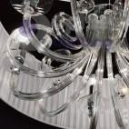 Lampario sospensione paralume bianco bracci cristallo