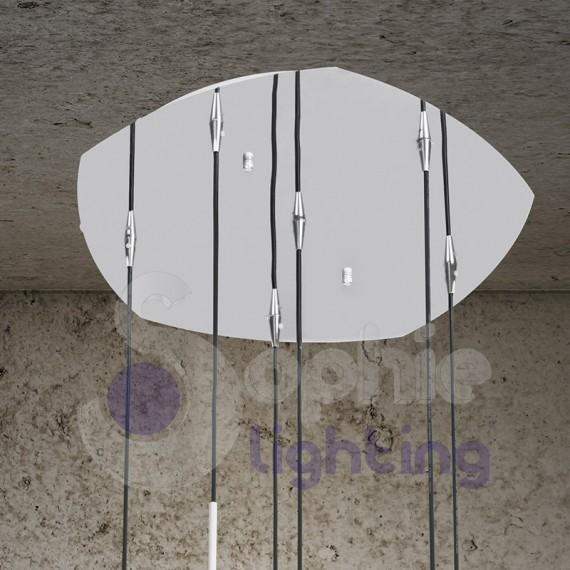 Lampadario sospensione 6 luci pendenti design moderno vetro soffiato