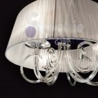 Sospensione paralume bianco design moderno cristallo