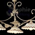 Lampadario 3 luci classico piatti ceramica avorio