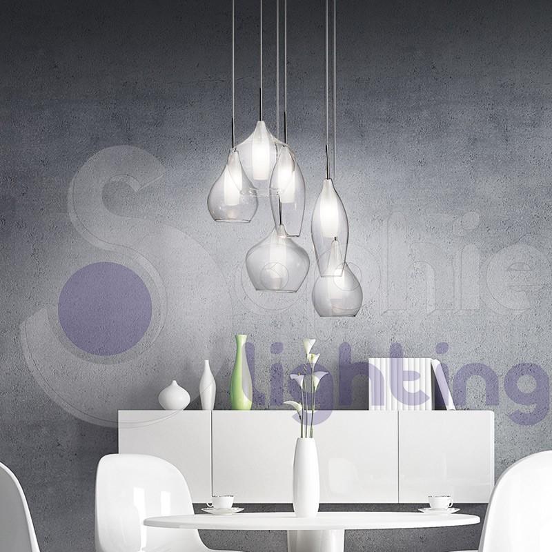 Lampada sospensione cucina vetro design moderno sospensioni moderne...