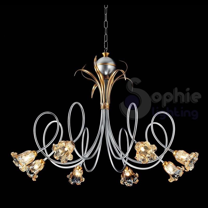 Lampadario ferro battuto classico 8 luci argento