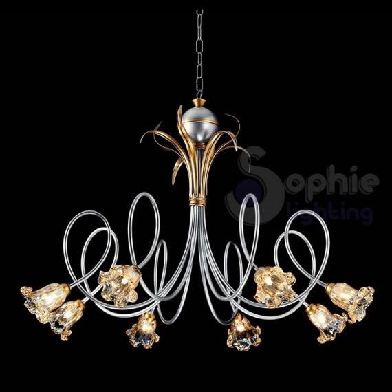 Lampadario ferro battuto classico 8 luci argento for Lampadari sala da pranzo