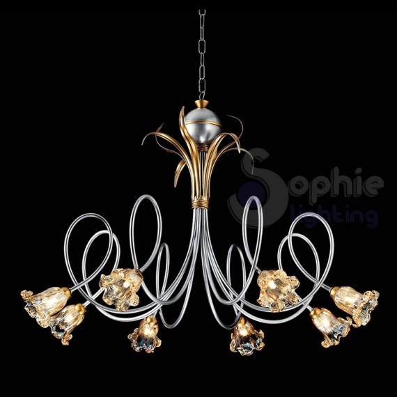 Lampadario ferro battuto classico 8 luci argento for Lampadario classico