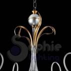 Lampadario 5 luci ferro battuto classico argento oro